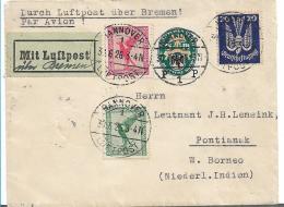 W-L079 / DT. REICH -  Hannover Nach Borneo Via Singepore 30.6.25 M. Luftpost über Bremen - Briefe U. Dokumente