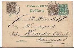 Kra104 /  DT. REICH - Firmenkarte Auerbach (Hessen) Bergstr. 1894 Nach  Den Niederlanden. Ganzsache Mit Zusatzmarken - Allemagne