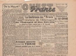 Rare Journal Ouest-france Du 11 Juillet  1945 - Newspapers