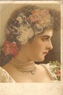 CPA Colorisée Belgique 1910 - Jeune Femme, Cheveux Blonds Collés Sur La Carte - Femmes