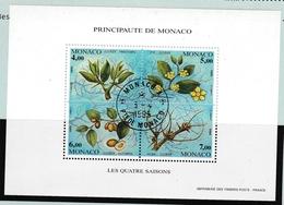 Bloc Jujubier 1995 Oblitéré - Monaco Les Quatre Saisons - Fleur Fruit - Blocchi