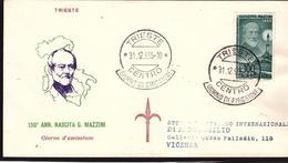 Fdc Tergeste: POSTA AEREA 1000 Lire Mazzini (1955) AF_Trieste - 6. 1946-.. Repubblica