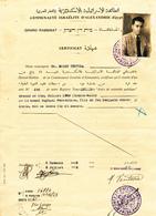 271/27 - THEME JUDAICA EGYPTE - Certificat 1938 Grand Rabbin D' ALEXANDRIE Dr Moise Ventura Pour Raphael Benveniste - Timbres