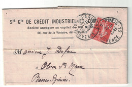 1909 - PERFORATION CIC Du CREDIT INDUSTRIEL ET COMMERCIAL Sur LETTRE AFFRANCHIE SEMEUSE 10c ROUGE CAD PARIS PROVENCE - Perforés