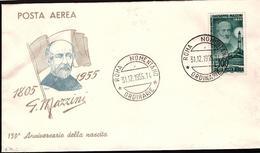 Fdc Ditta Ignota: POSTA AEREA 1000 Lire Mazzini (1955) A_Roma - 6. 1946-.. Repubblica
