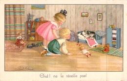 C P A Illustrateur Pauli Ebner Chut Ne Le Réveille Pas .les Jouets Le Chien Les Enfants Le Petit Train - Ebner, Pauli
