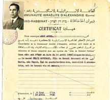 273/27 - THEME JUDAICA EGYPTE - Certificat 1956 Grand Rabbin D' ALEXANDRIE Aron Angel Pour Félix Souccari - Timbres