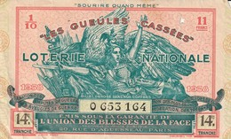 """Rare Billet De Loterie """"les Gueules Cassées De 1938 - 1914-18"""