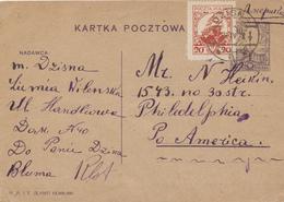 277/27 - THEME JUDAICA POLSKA - Entier Polonais DZISNA 1928 Vers PHILADELPHIA USA - Texte En Hébreu - Timbres