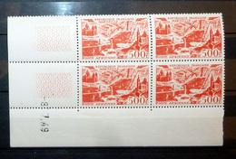FRANCE COIN DATÉ POSTE AÉRIENNE 1949 N°27A ** (MARSEILLE. 500F ROUGE. COIN DATÉ DE 1949) - Dated Corners