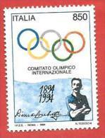 ITALIA REPUBBLICA MNH - 1994 - Centenario Del Comitato Olimpico Internazionale (C.I.O.) - £ 850 - S. 2122 - 1991-00:  Nuovi
