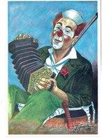 "CPM FRANCE THEMES ARTS - Cirque ""Le Clown Accordéon"" - Dessin Original De J. Juanola - Pintura & Cuadros"