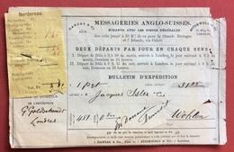 STRADE FERRATE MESSAGERIES ANGLO-GUISSES  TARIF  POUR LA GRANDE BRETAGNE ET L'ISLANDE  1880 - Treni