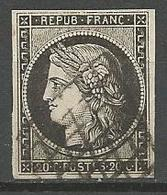 CERES N° 3a CADRE Nord Brisé OBL TB - 1849-1850 Cérès