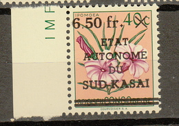 Zuid-Kasai Ocb Nr:  11 ** MNH  (zie Scans) SANS POINT SUR LE I - South-Kasaï