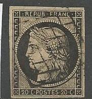 CERES N° 3 CADRE Brisé / Rosette Sud Est Retouché  OBL TB - 1849-1850 Ceres