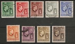 VIRGIN ISLANDS 1938 CHALK - SURFACED PAPER SET TO 2s 6d SG 110/118 FINE USED Cat £31+ - British Virgin Islands
