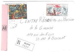 BLAYE Gironde Lettre Recommandée Avec AR Etiquette 15F Guillaumet Codos     5 F Tableau Masson Yv 2342 PA 48 - France