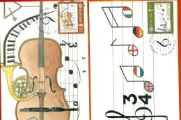 CM-Carte Maximum Card #1985-GB-Guernsey  # Europa  CEPT # Musique,Musik,music (music Note,violin)( 2CM) - Europa-CEPT