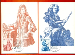 CM-Carte Maximum Card #1985-Monaco # Europa  CEPT # Musique,Musik,music  (J.B.Lully  ,Prince Antoine I ) (2CM) - 1985