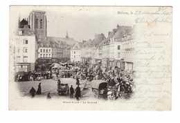 62 Bethune Grand Place Le Marché Cpa Carte Animée Attelage Marchand Cachet Oblitération Bethune 1901 - Bethune