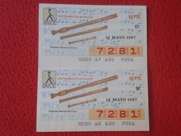CUPÓN DE ONCE SPANISH LOTERY CIEGOS SPAIN LOTERÍA ESPAÑA INSTRUMENT MUSIC 1987 FLAUTAS RENACENTISTAS FLUTE PIPES VER FOT - Lottery Tickets