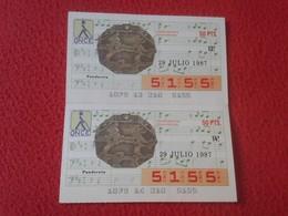 CUPÓN DE ONCE SPANISH LOTERY CIEGOS SPAIN LOTERÍA ESPAÑA INSTRUMENT MUSIC 1987 PANDERETA TAMBOURINE TAMBOURIN VER FOTO/S - Lottery Tickets