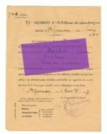 Guerre 14/18 - Armée Française - 59e Rgt D' Artillerie De Campagne - Attestation De Blessé De Guerre Datée De 1917 (fr68 - 1914-18