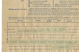 """TELEGRAMME COMPIEGNE  à  Central PARIS   TIMBRE à Date """"rue De L'épée"""" 1940 Paris V - Old Paper"""