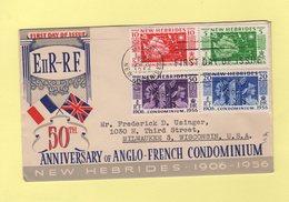 Nouvelles Hebrides - Vila - FDC - Anniversaire Anglo Francais - 1956 - Destination USA - FDC