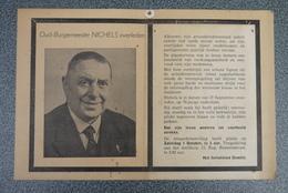 Aalst Doodsprentje Burgemeester Nichels 1949 Foto  Zeldzaam Groot Formaat - Religión & Esoterismo