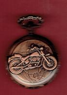 Montre Gousset Quartz - Chiffres Romains - Sujet Moto Couleur Bronze - Montres Gousset