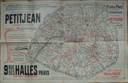 Plan De Paris Et Des Lignes Métropolitain Offert Par Maison Petitjean Rue Des Halles - Maps
