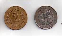 Sac X  : Monnaie Coin Lot De 2 Pièces Islande 2 Kronur 1946 + 10 Kronur 1984 - Islandia