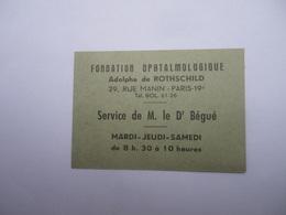 Fondation Ophtalmologique Adolphe De Rothschild 29 Rue Manin Carton De Consultation - Tickets D'entrée