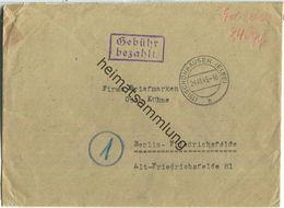 Brief Aus (19) Schönhausen (Elbe) Vom 24.10.1945 Mit 'Gebühr Bezahlt' Stempel B5e In Violett - Zusätzlich 'Geb. Bez. 24 - Zone Soviétique
