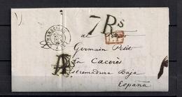 "1844  MARSELLA, CARTA A CÁCERES , FECHADOR "" MARSEILLE  "", MARCA P.P. , PORTEO RECTIFICADO , TRÁNSITO DE BAYONA - 1801-1848: Precursores XIX"