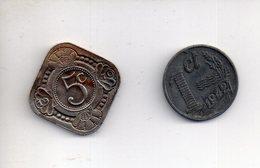 Sac X  : Monnaie Coin Lot De 2 Pièces Pays Bas Netherland 5 C 1970 + 1 C 1942 - Sonstige