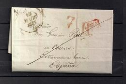 """1834  PAU , CARTA A CÁCERES , FECHADOR """" PAU  """", MARCA P.P. , PORTEO - 1801-1848: Precursores XIX"""