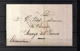 "1841  BAYONA , CARTA CIRCULADA A ARROYO DEL PUERCO - CÁCERES , FECHADOR "" BAYONNE  "", MARCA P.P. , PORTEO - 1801-1848: Precursores XIX"