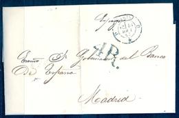 "1857  PARIS , CARTA  A MADRID , FECHADOR DE PARIS , PORTEO, AMBULANTE FERROVIARIO "" PARIS AUX PYRÉNÉES"" , LLEGADA - Marcofilia (sobres)"