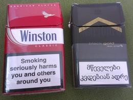 GEORGIA GRUZIA Lot Of 2 EMPTY CIGARETTES BOXES PACKS MARLBORO WINSTON - Empty Cigarettes Boxes