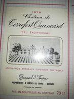 ETIQUETTE VIN BORDEAUX SUPERIEUR CHATEAU TERREFORT QUANCARD 1976 CUBZAC - Bordeaux