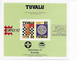 Tuvalu 1986; Fischer Karpov Chess Rotary Scouting Bloc CAPEX 87 Jamboree SPECIMEN Issue - Chess