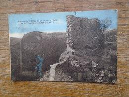 """Ruines Du Château De La Garde Et Vallée De La Truyère Près De Saint-chely """" Carte Animée Personnage Pied De La Ruine """" - Saint Chely D'Apcher"""