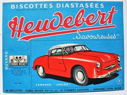 Beau Buvard Voiture Panhard Junior Biscottes Heudebert Nanterre Lyon Alger Timbre Mickey - Transports