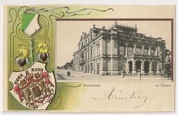 """102 - Verviers -Le Théâtre """" Blason De Verviers Et Armoiries De Belgique En Relief"""" - Verviers"""