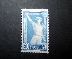 FRANCE 1924 N°186 (*) (8ÈME OLYMPIADE PARIS 1924. ATHLÈTE DE FACE PRÊTANT SERMENT. 50C BLEU ET OUTREMER) - Ungebraucht
