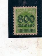 GERMANY GERMANIA GERMAN REICH EMPIRE IMPERO 1923 NUMERAL CIFRA SURCHARGED SOPRASTAMPATO 800m On 1000m MH - Ungebraucht