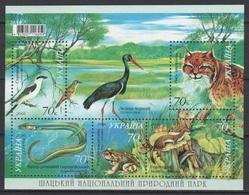 UKRAINE 2006 Mi Block 56(798-802) Natural Park Schatsk: Lynx. Birds. Fish. Frog. Ermine **/MNH - Cigognes & échassiers